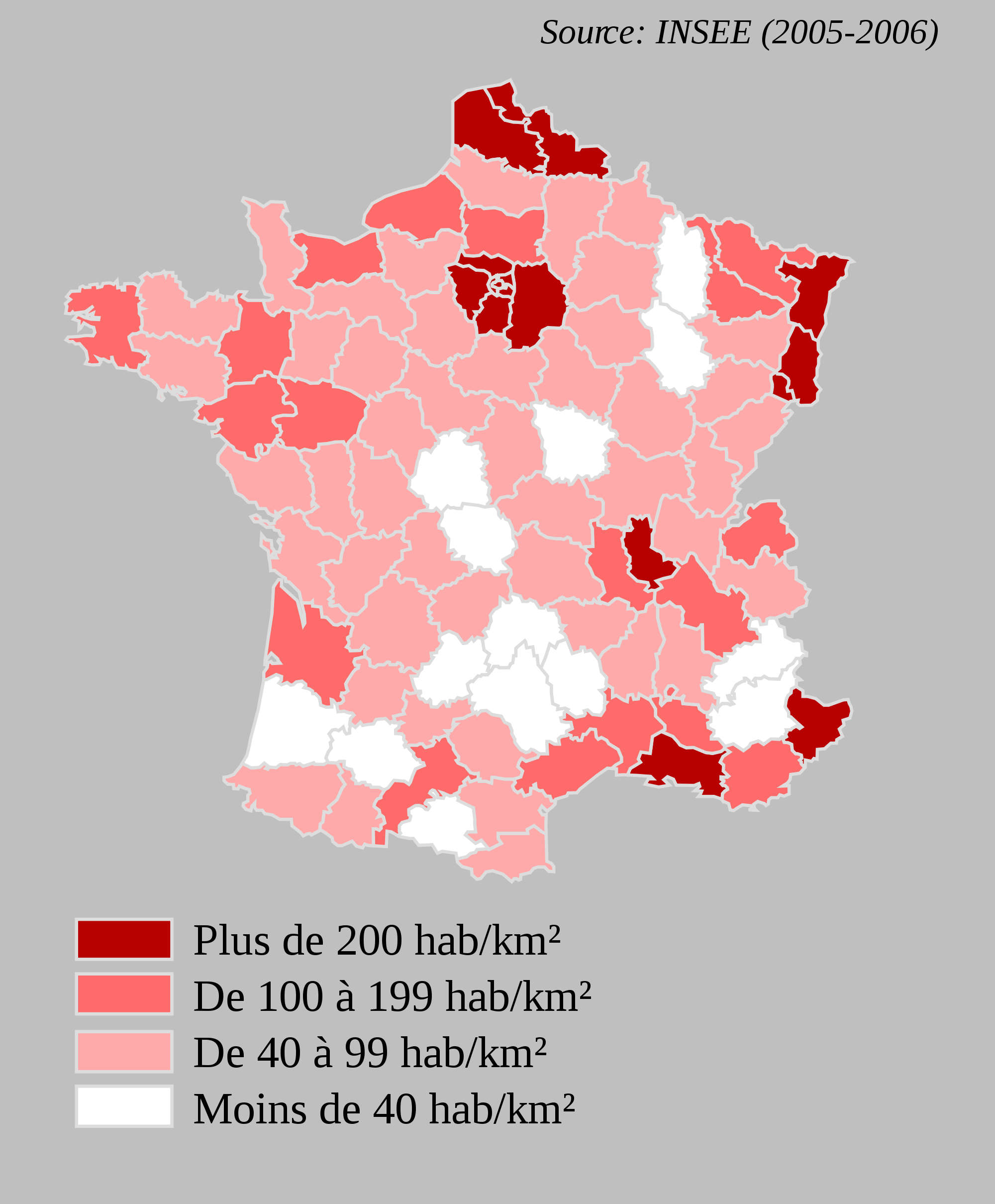 France Departments With Population Density