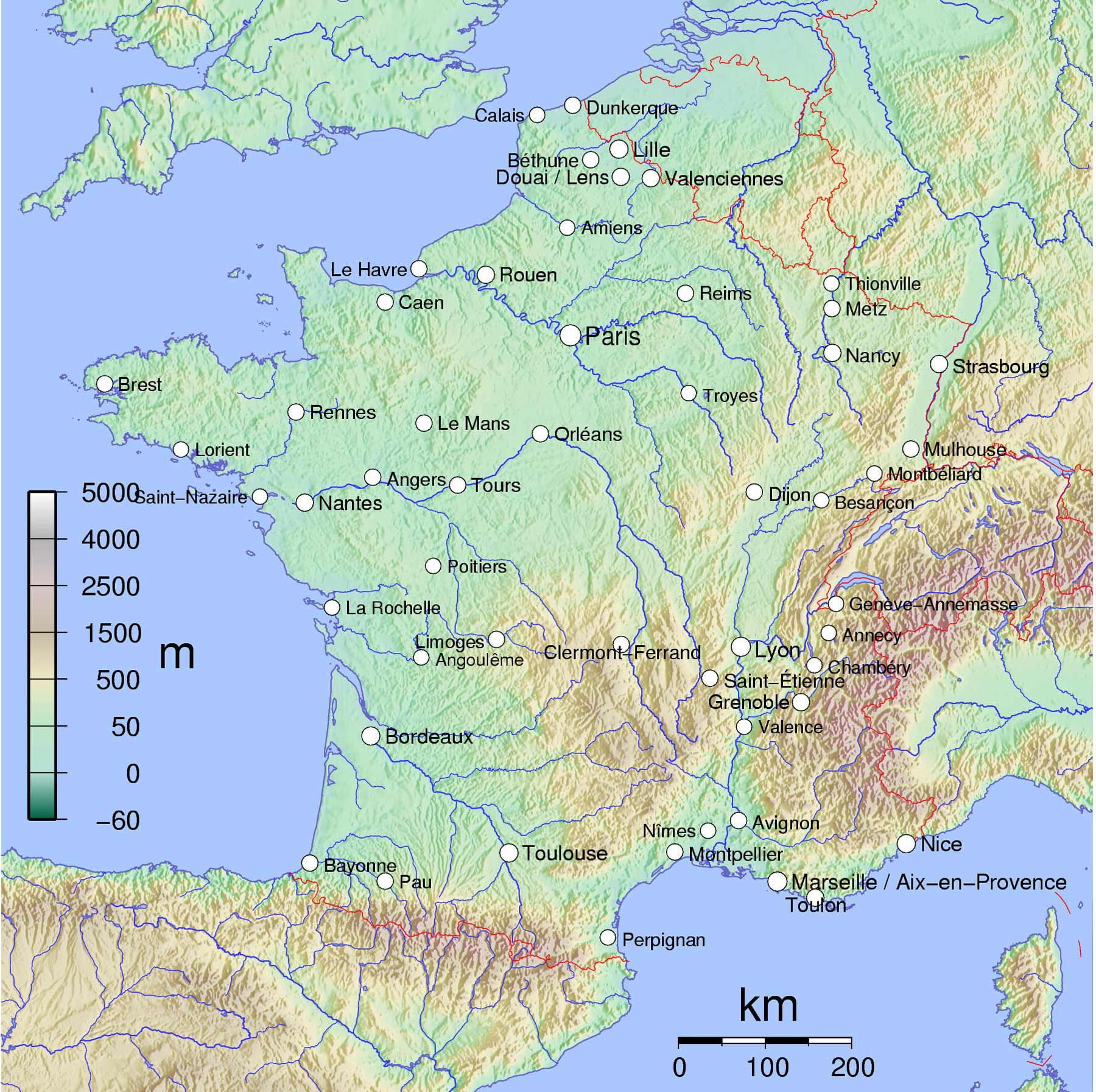 France Phisical Map With Cities