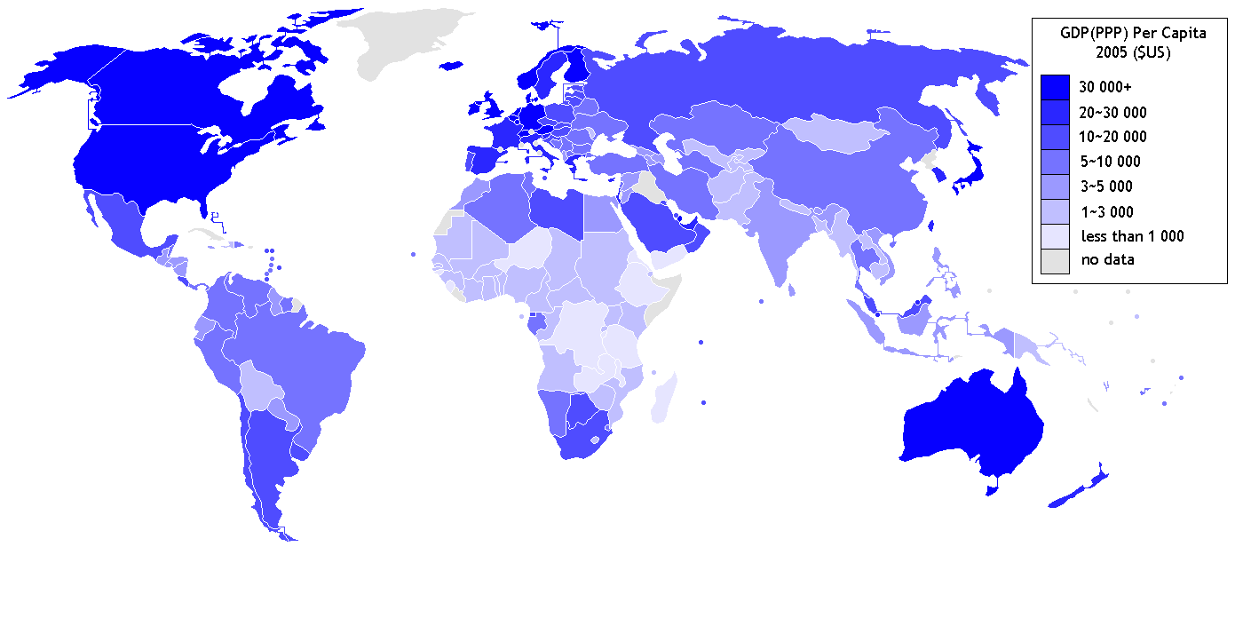 Gdp Per Capita Ppp World Map 2005 Copy One Colour