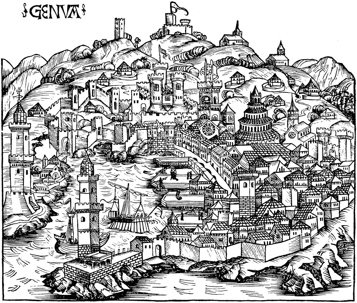 Historical Ancient Map of Genoa