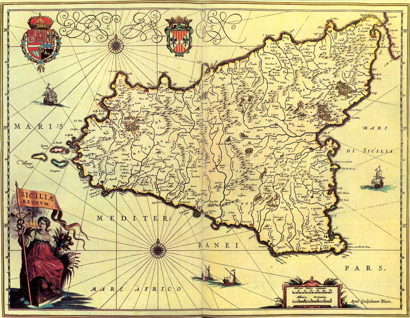 Historical Map of Sicily (1571 1638)