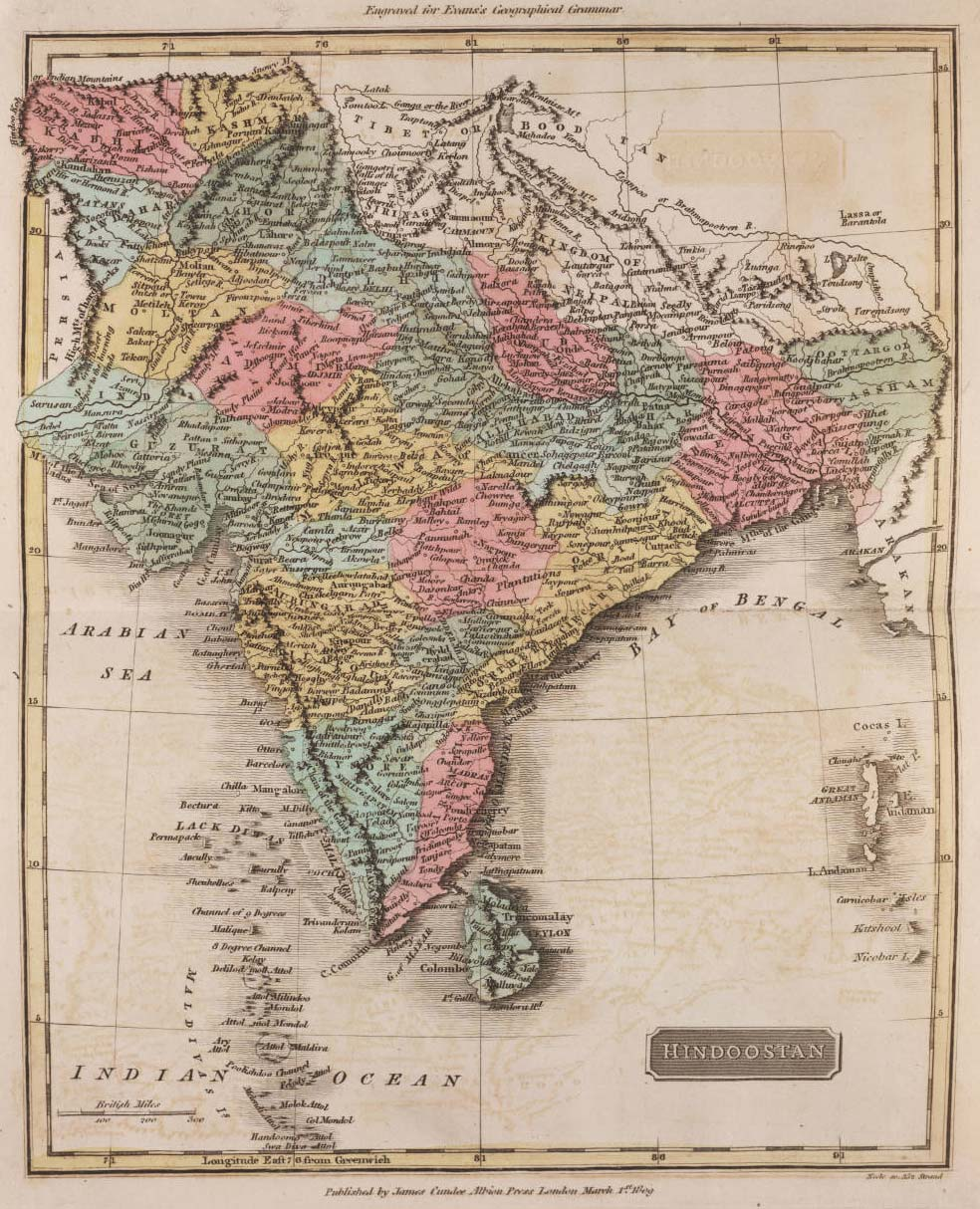 Historical Map of India (1809)