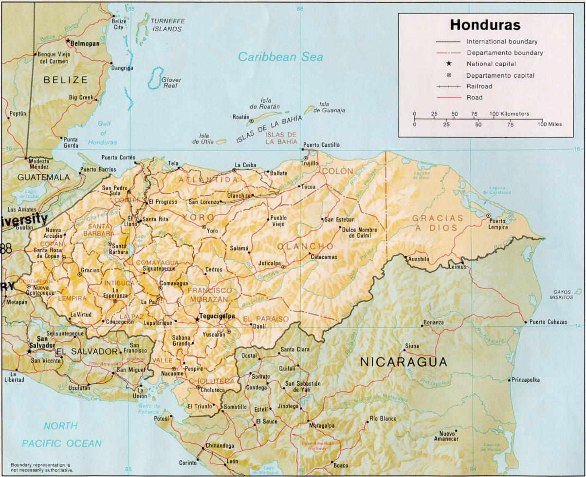 Honduras Physical Map
