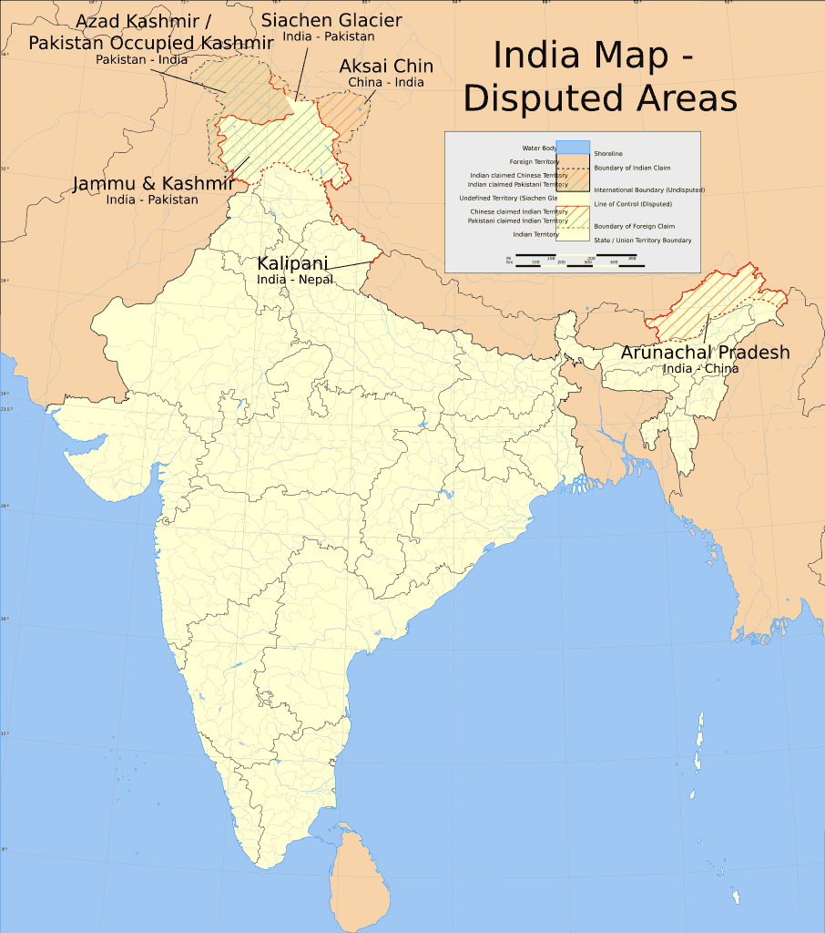 India Disputed Areas Map