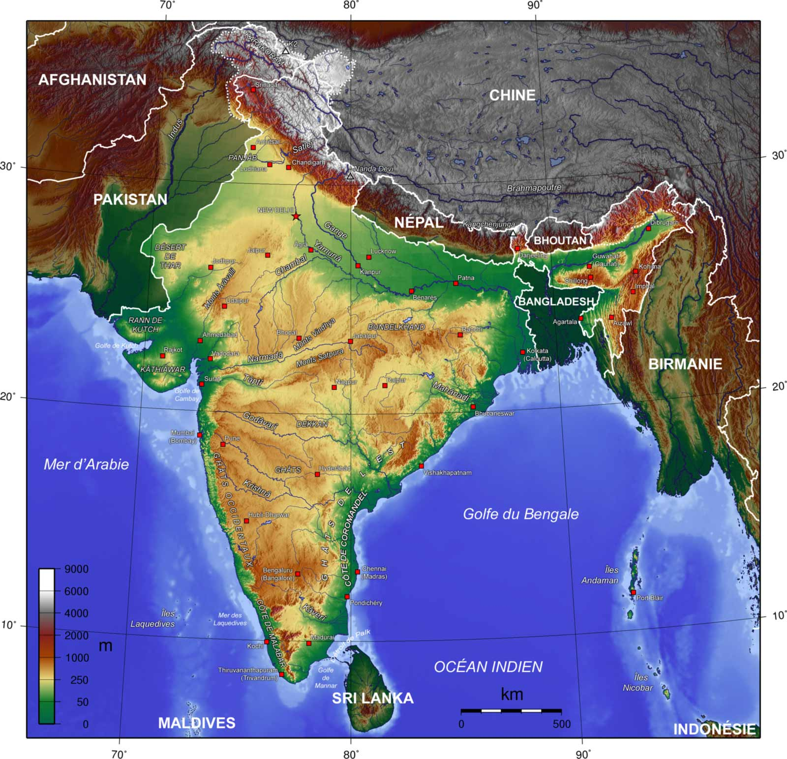 India Topogaphy Fr