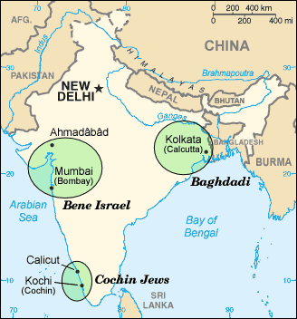 Indian Jews Communities Map