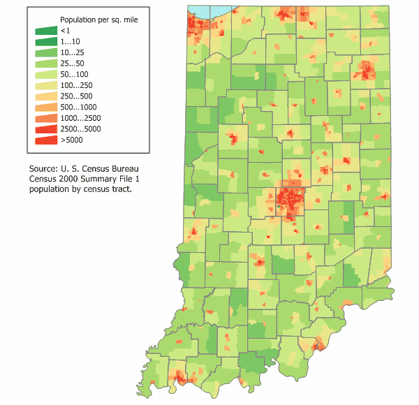 Indiana Population Map