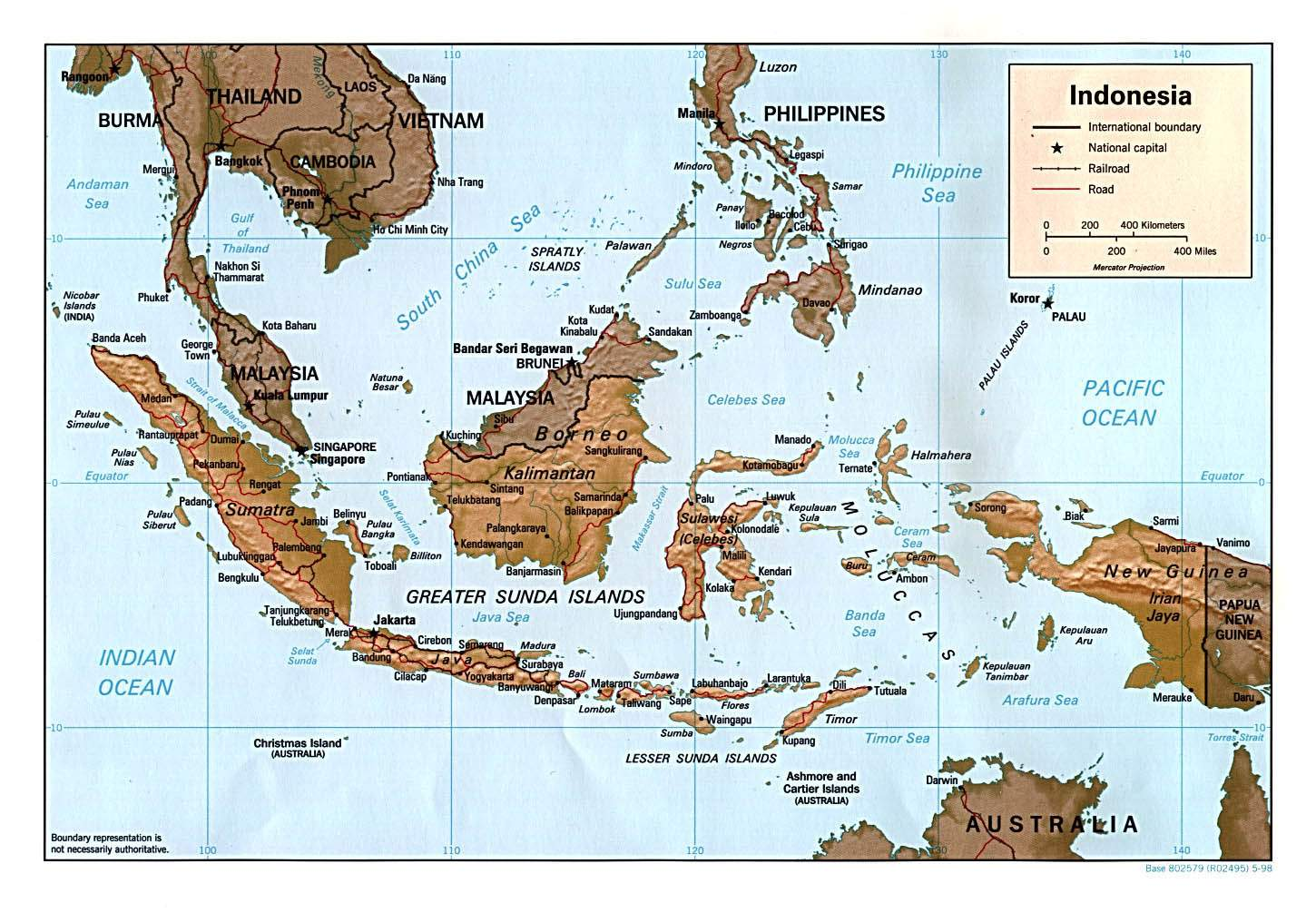 Indonesia Map Physical