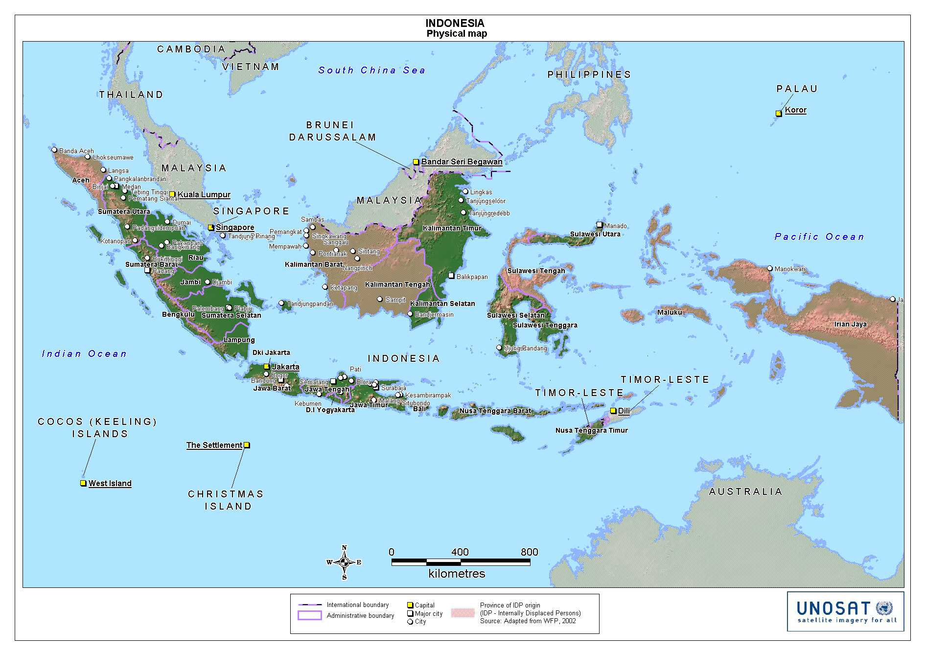 Indonesia Physical Map 1
