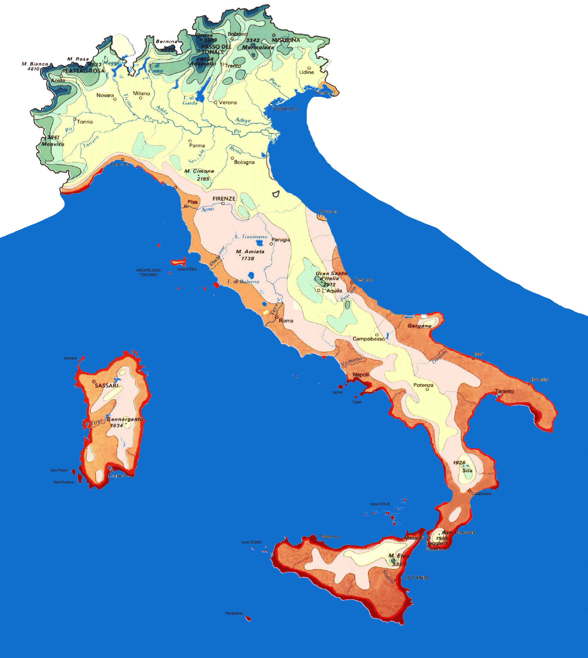 Isotherms Map Italy