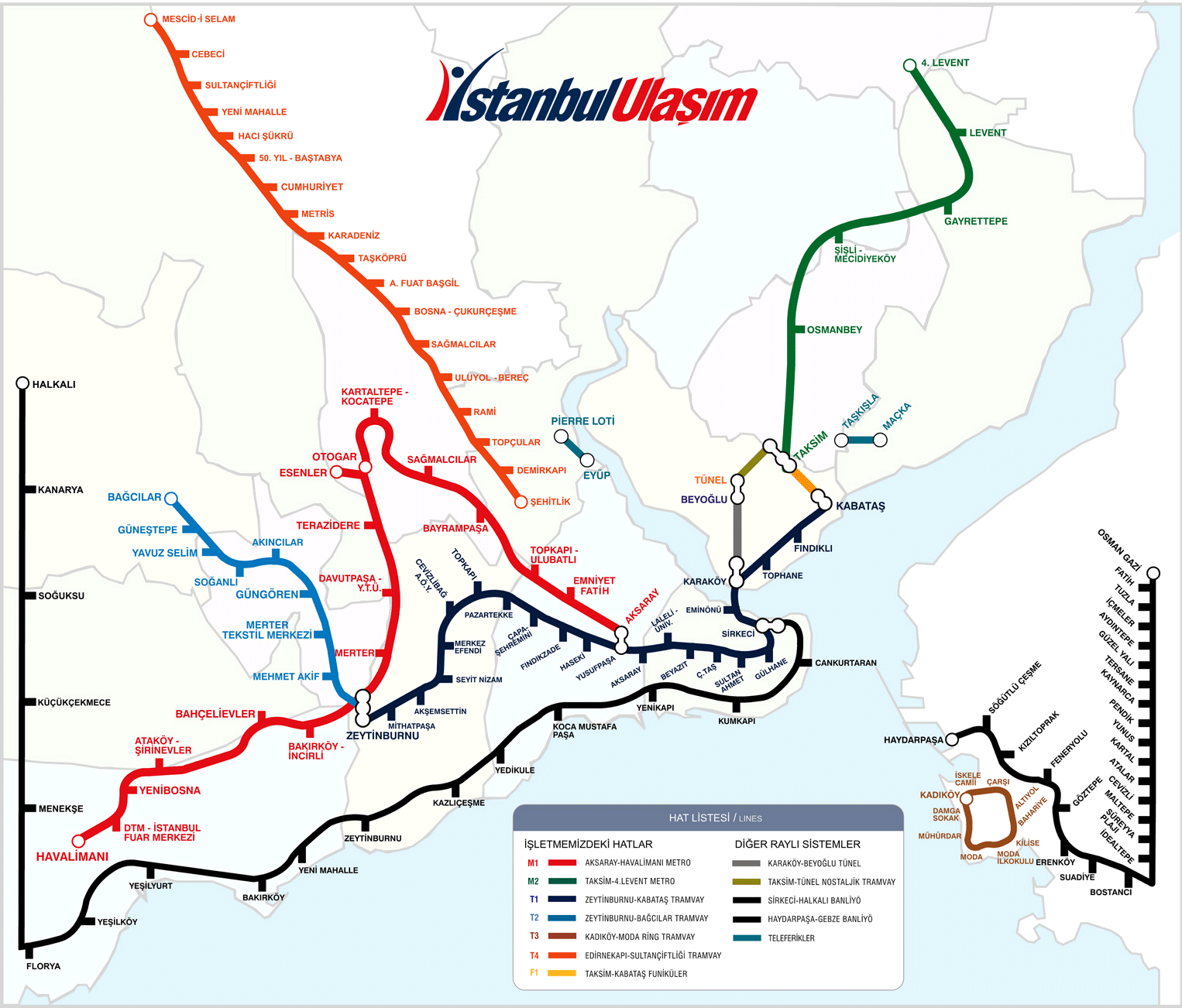 Istanbul Metro System Geographical Map