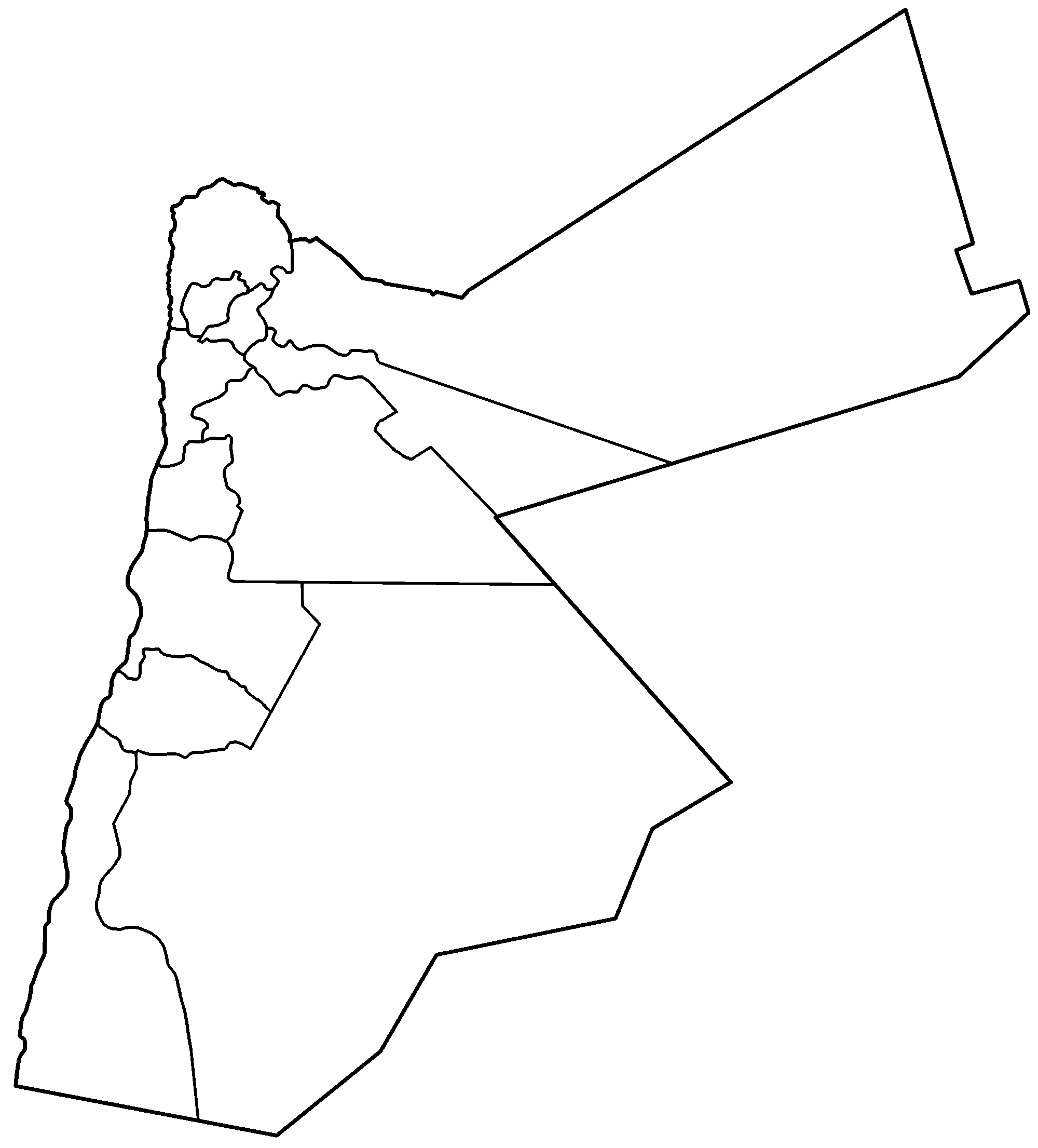 Jordan Governorates Blank