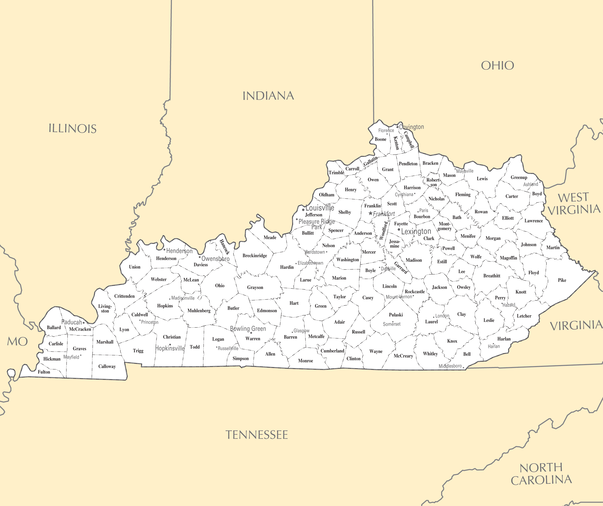 Kentucky Cities And Towns