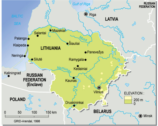 Lithuania Topographic Map