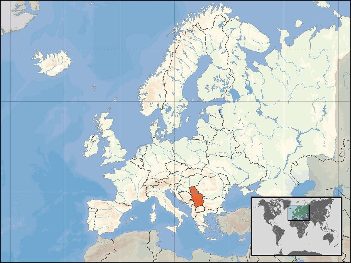Location of Serbia In Europe, Kosovo Included