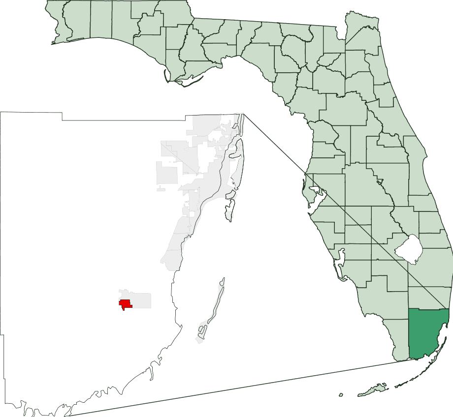 Map of Florida Highlighting Florida City
