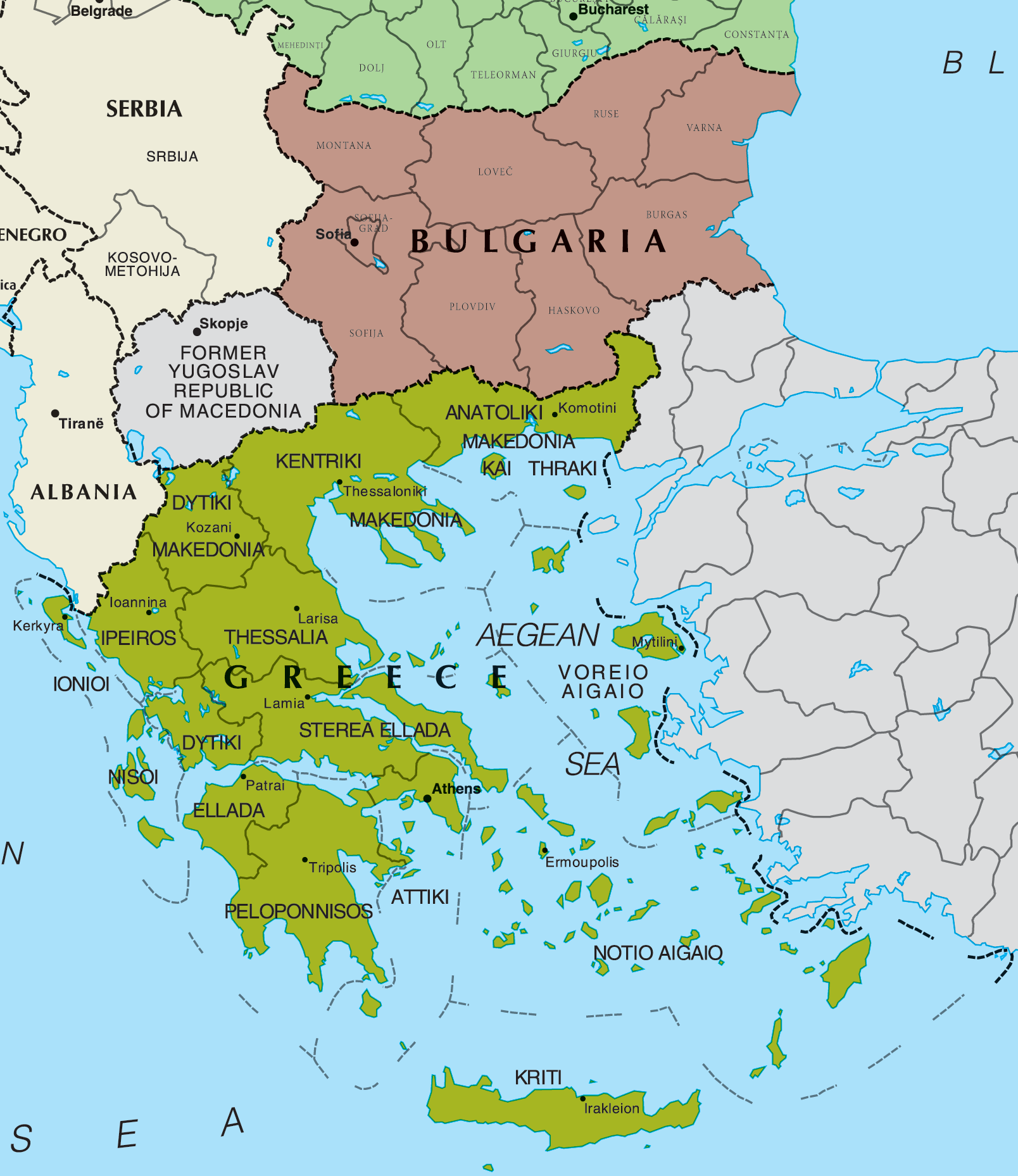 Map of Greece And Bulgaria