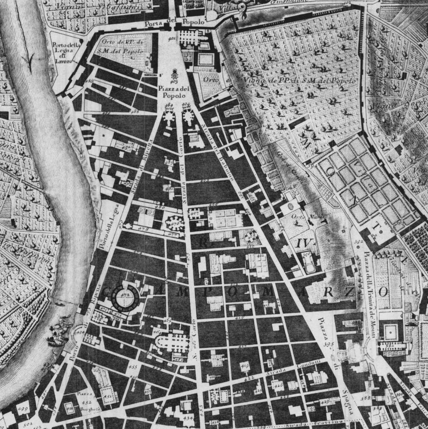 Map of Northern Rome, Piazza Del Popolo, By Nolli