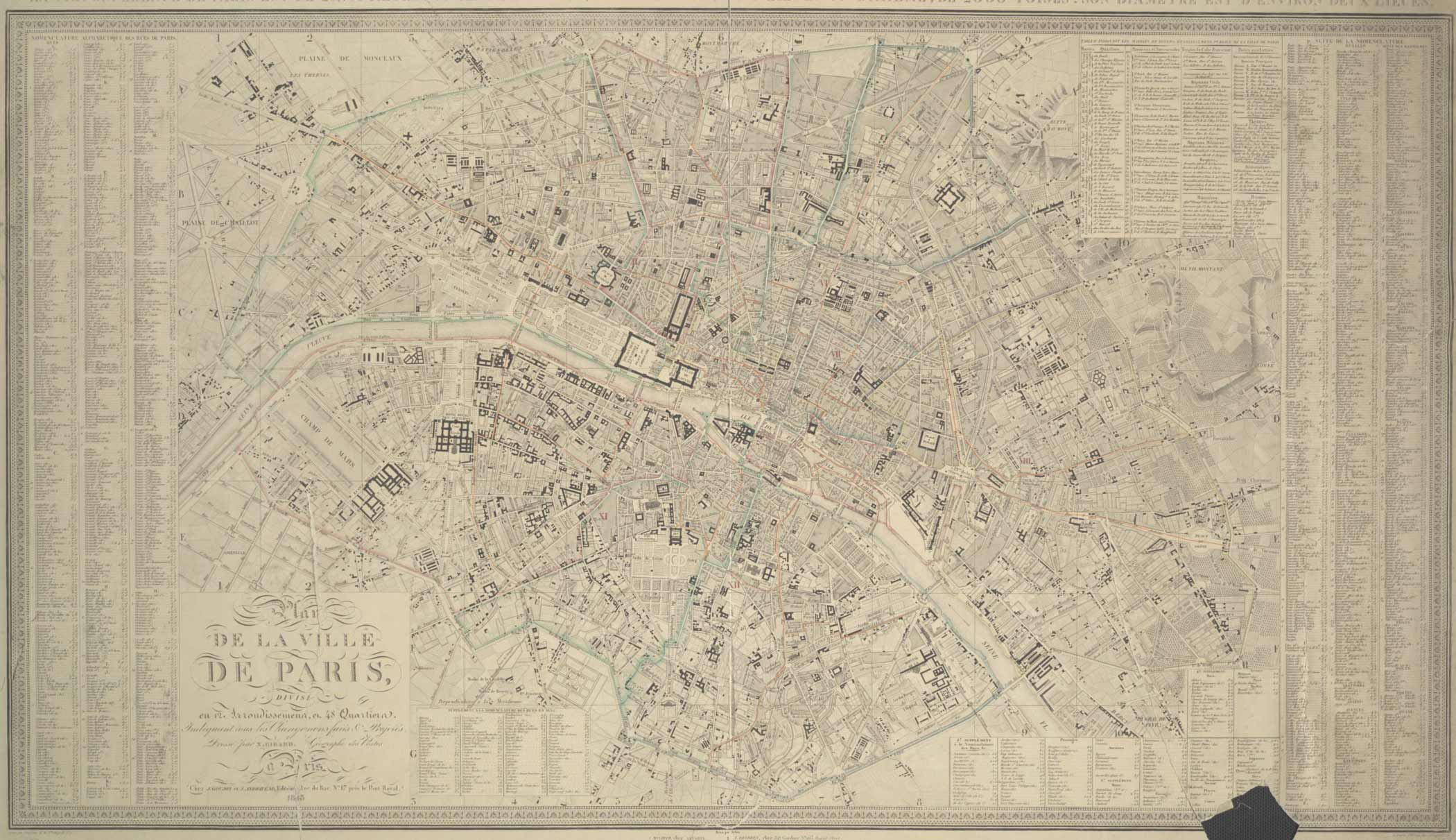 Map of Paris 1843 Pari000126