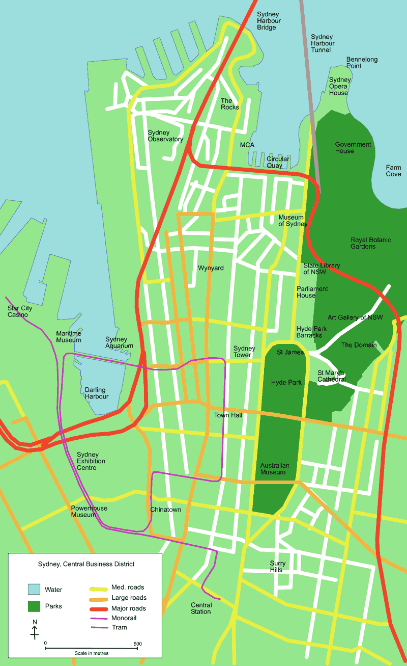 Map of Sydney Central Bus District