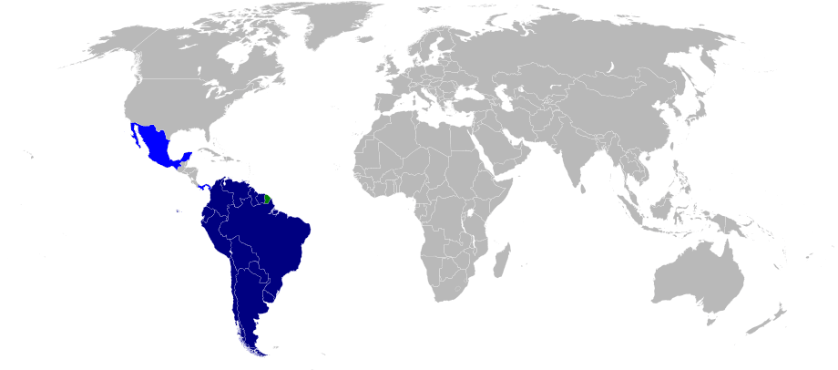 Map of the Union of South American Nations