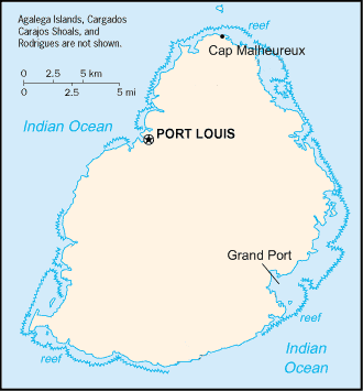 Mauritius Map With Historical Places