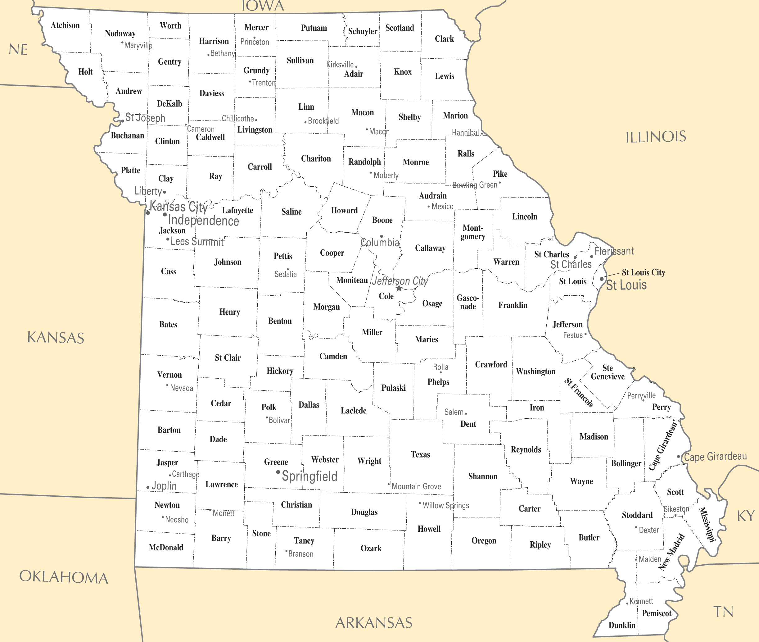 Missouri Cities And Towns