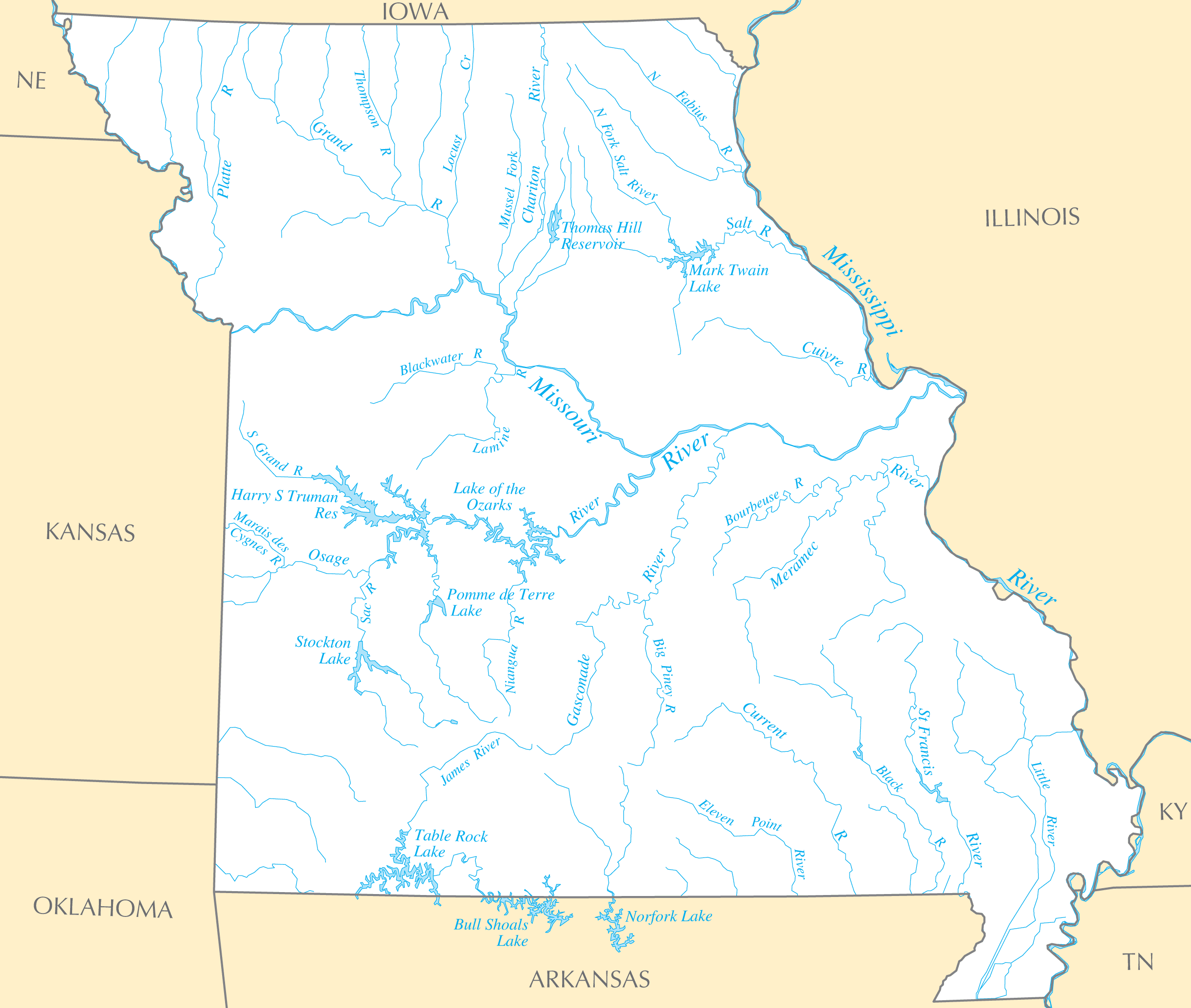 Missouri Rivers And Lakes