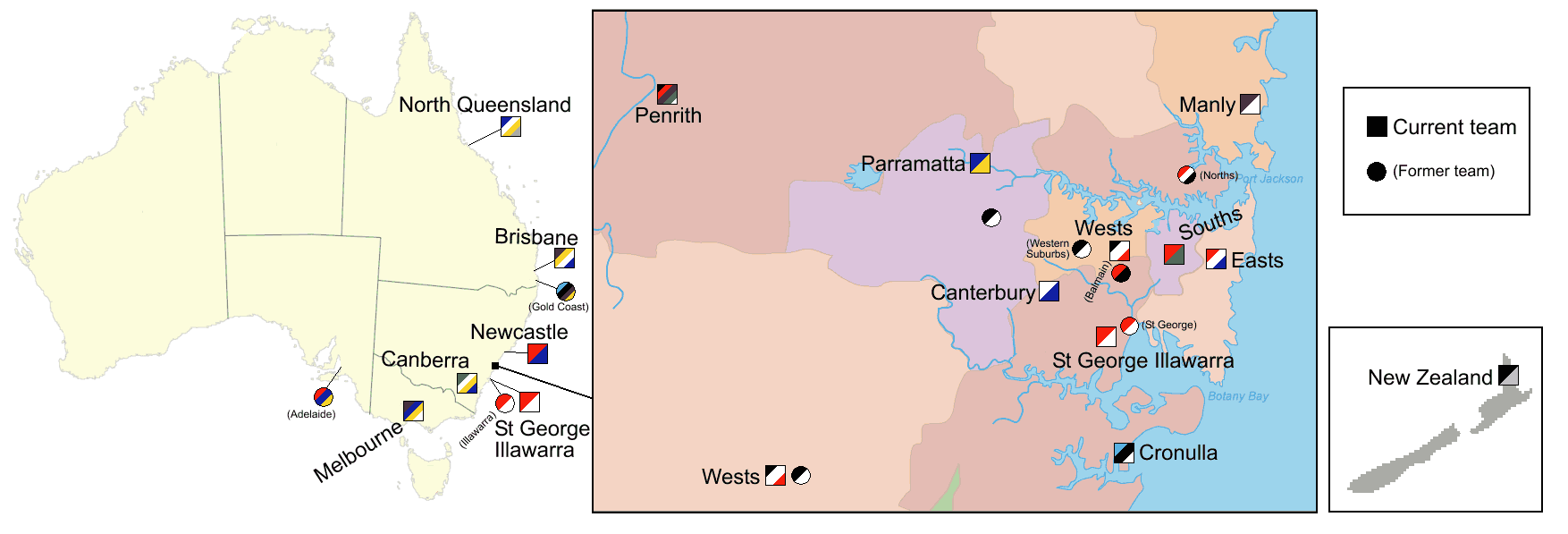 National Rugby League Team Locations