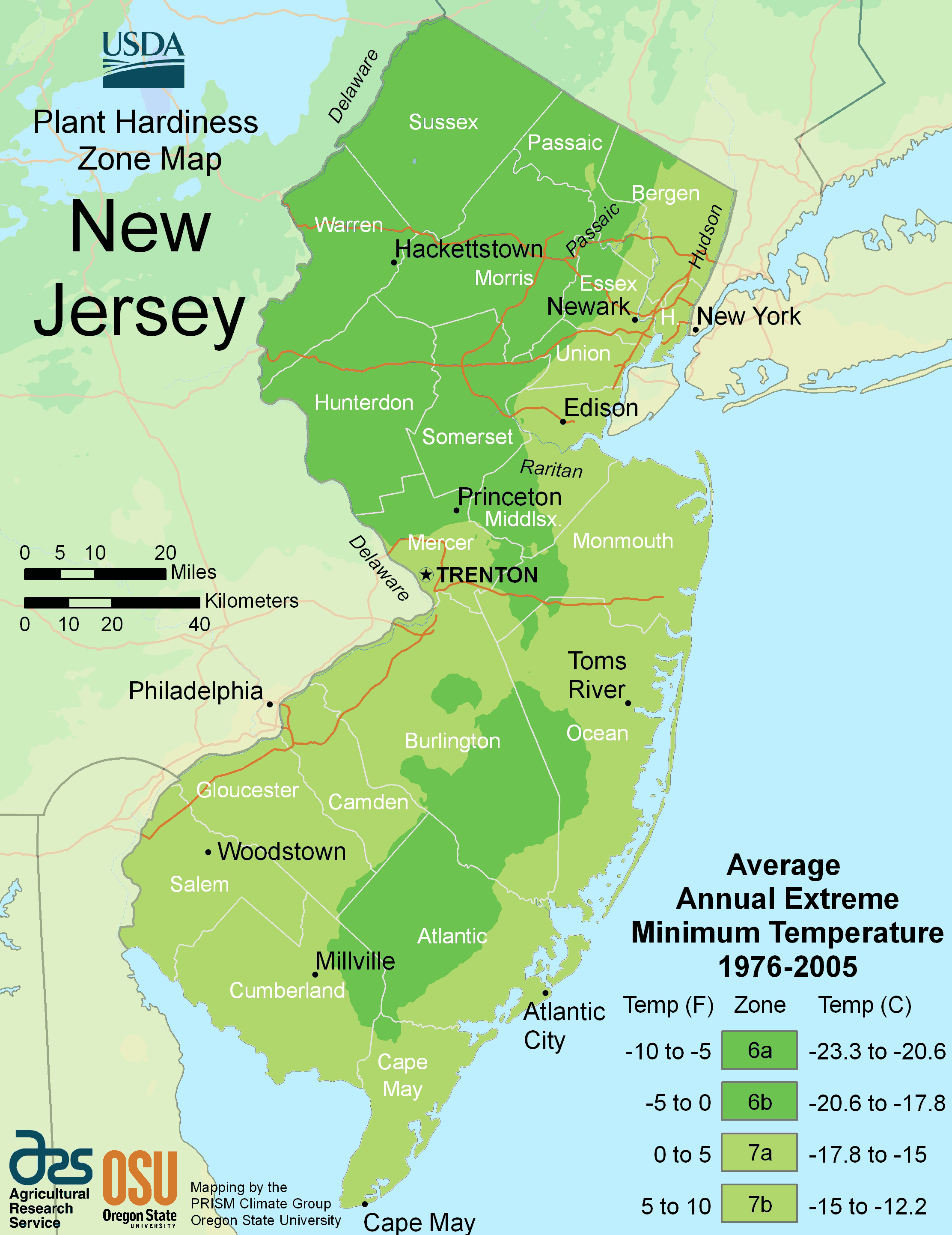 New Jersey Plant Hardiness Zone Map
