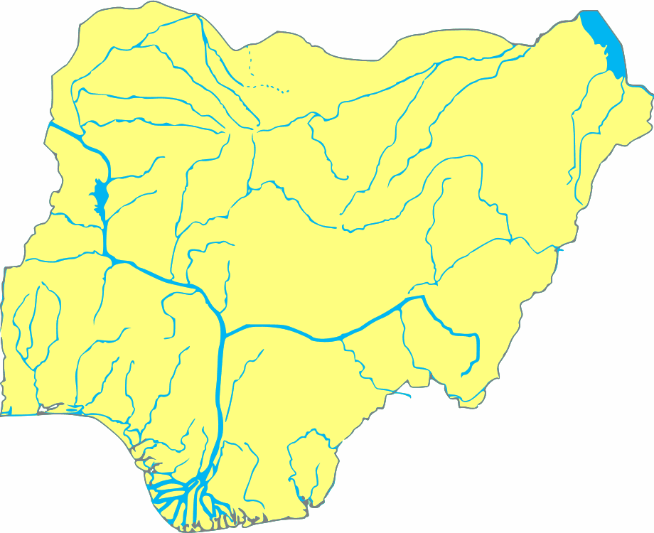Nigeria Blank With Rivers
