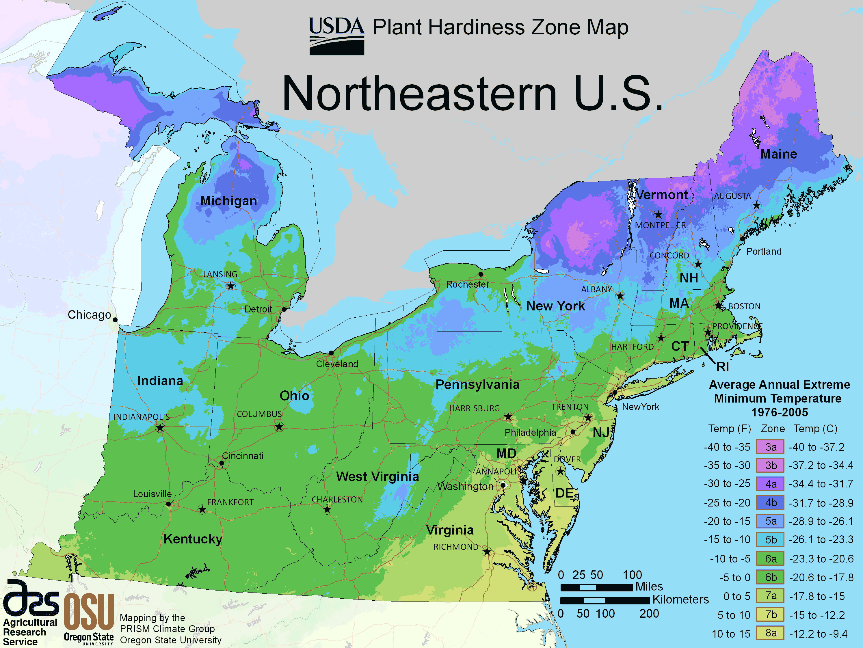 North East Us Plant Hardiness Zone Map