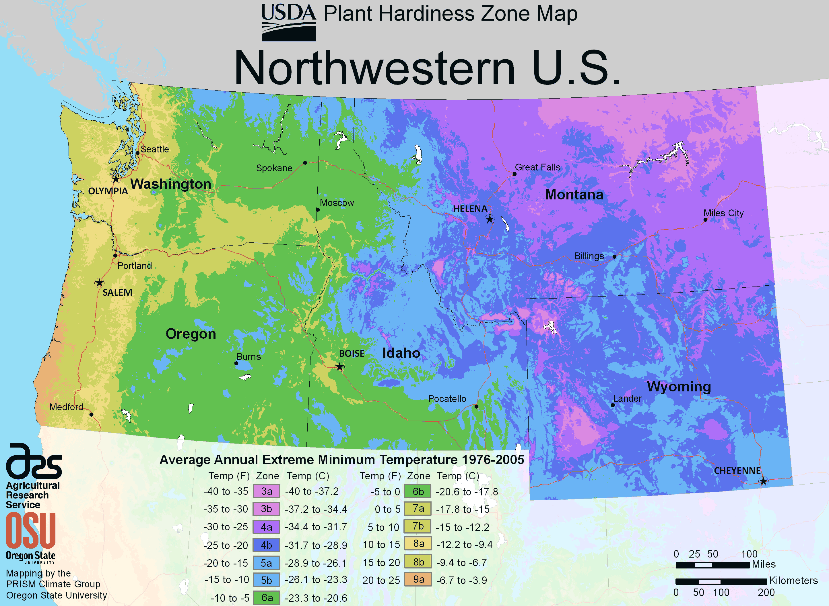 North West Us Plant Hardiness Zone Map