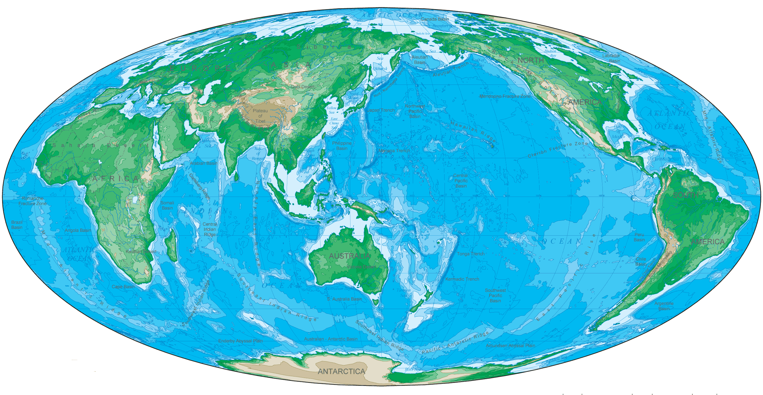 Oval Shaped East Asia Map