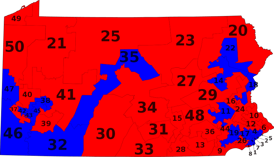 Pa State Senate Districts By Party