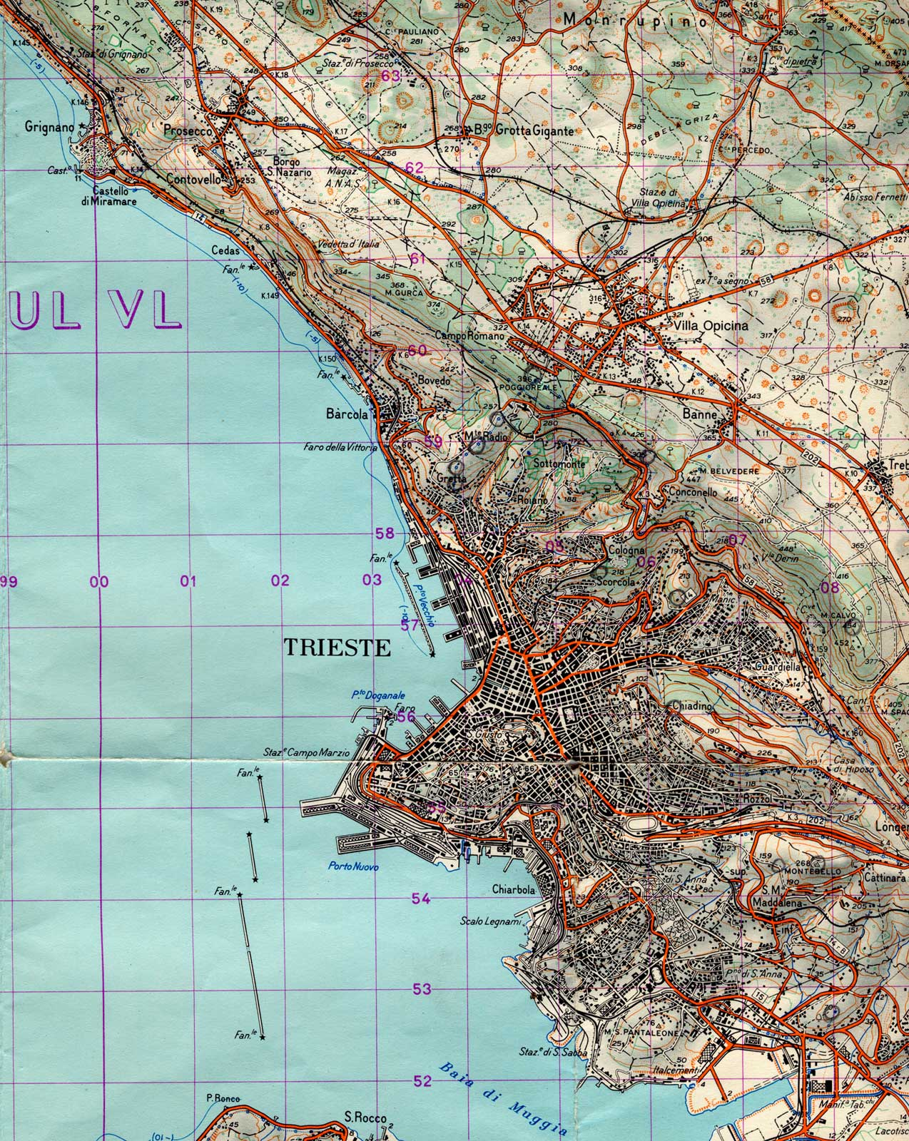 Phisical Map Trieste City