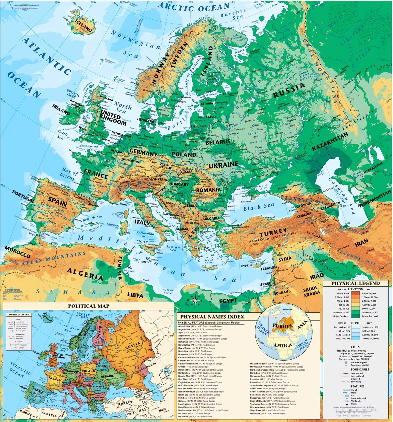 Physical Europe Map