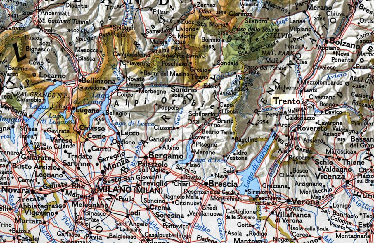 Physical Map of Trento