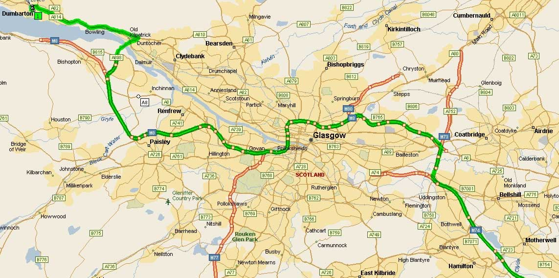 Road Map of Glasgow