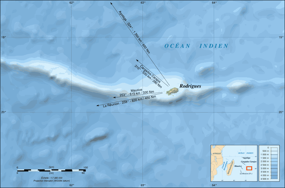 Rodrigues Island Bathymetric Environment Map Fr