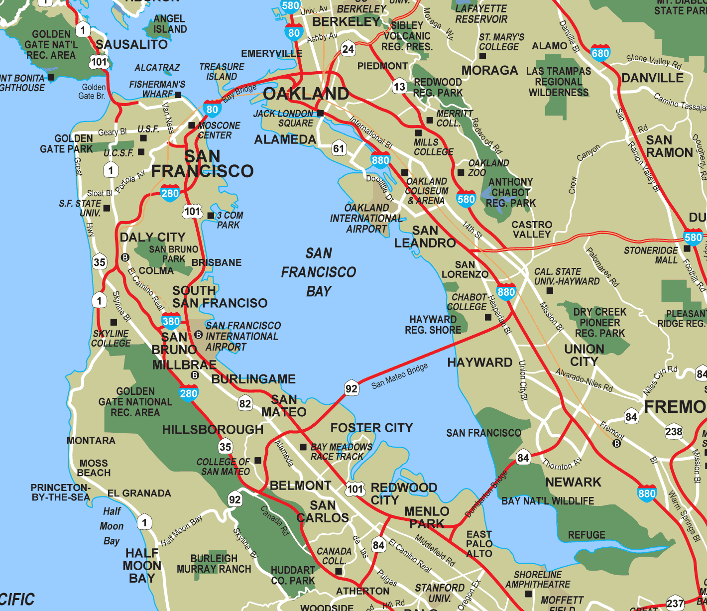 San Francisco Bay Mapsof Net This map shows cities, towns, highways, main roads, secondary roads in san francisco bay area. mapsof net