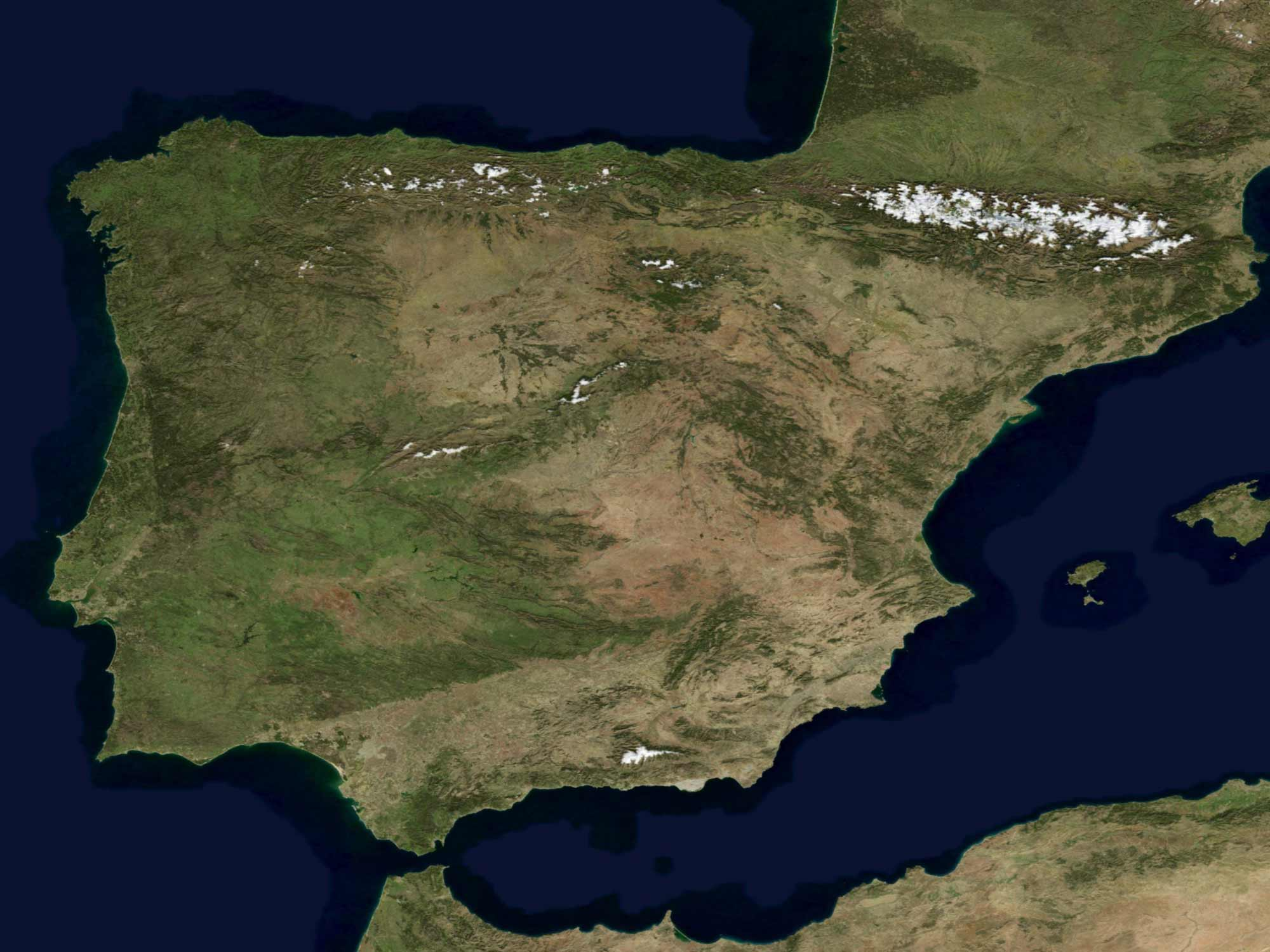 Satellite Image of Spain In January 2004
