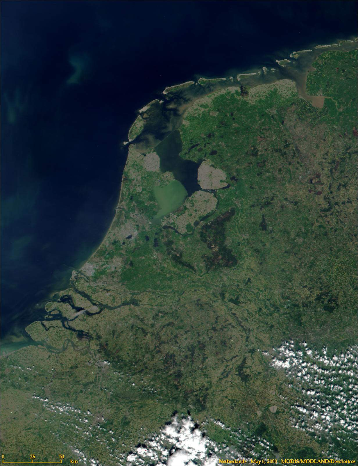 Satellite Image of the Netherlands In May 2000
