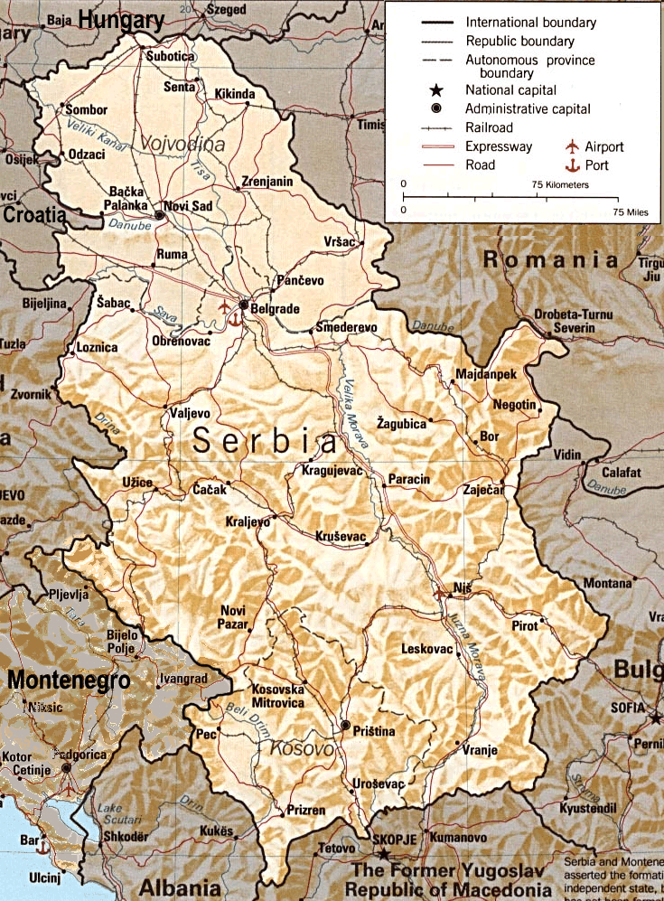 Serbia Relief Map