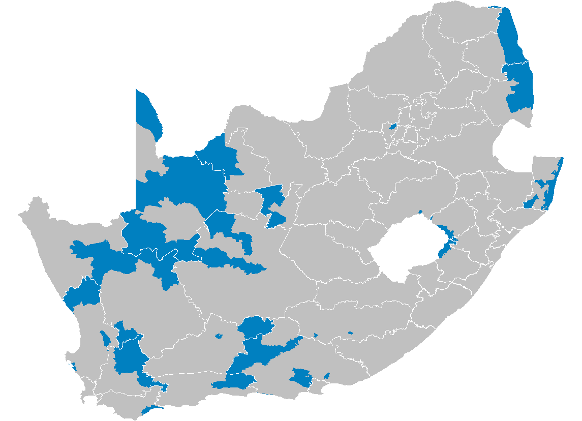South Africa Districts Showing Dmas
