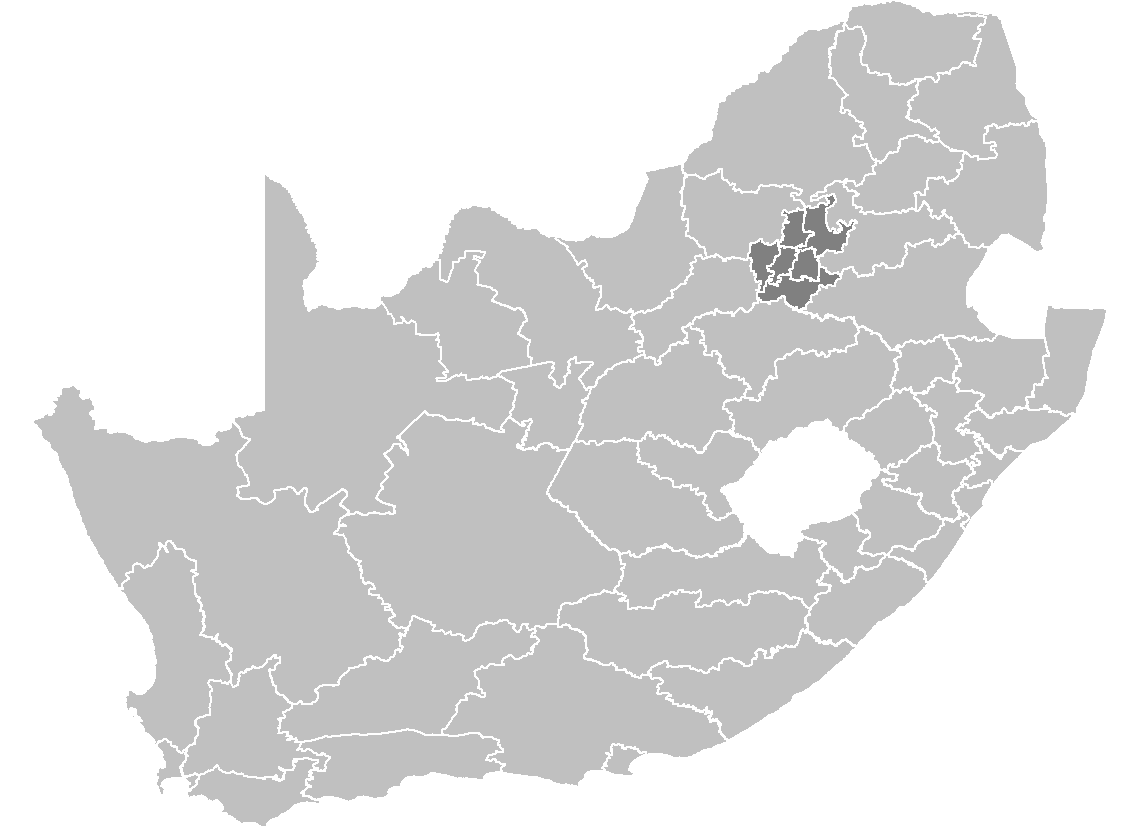 South Africa Districts Showing Gp