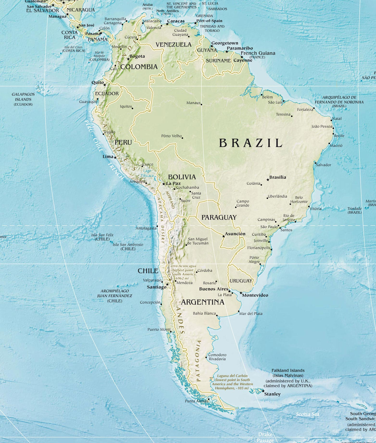 South America Physical Map 2