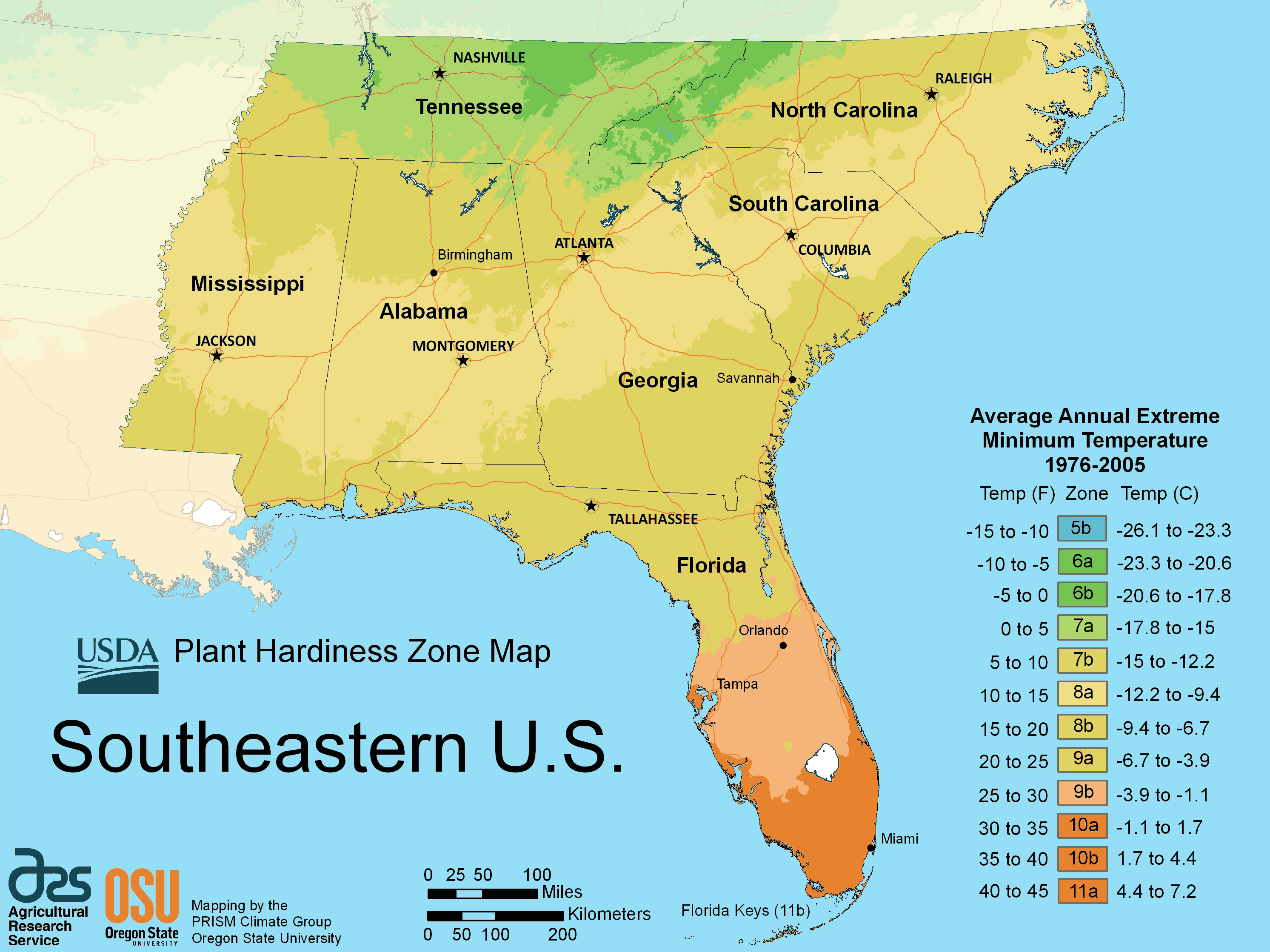 Us Map South East South East Us Plant Hardiness Zone Map   Mapsof.Net