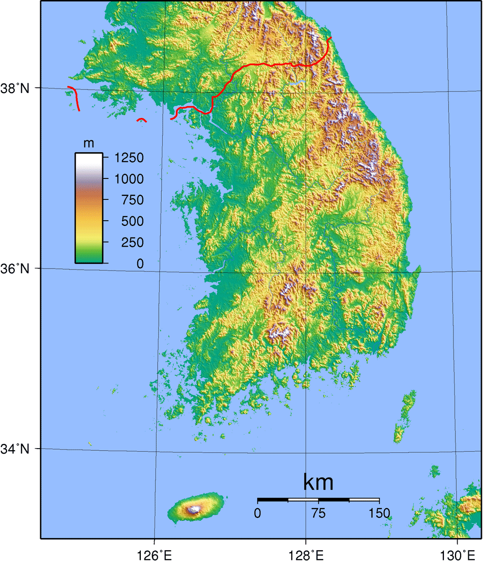 South Korea Topography