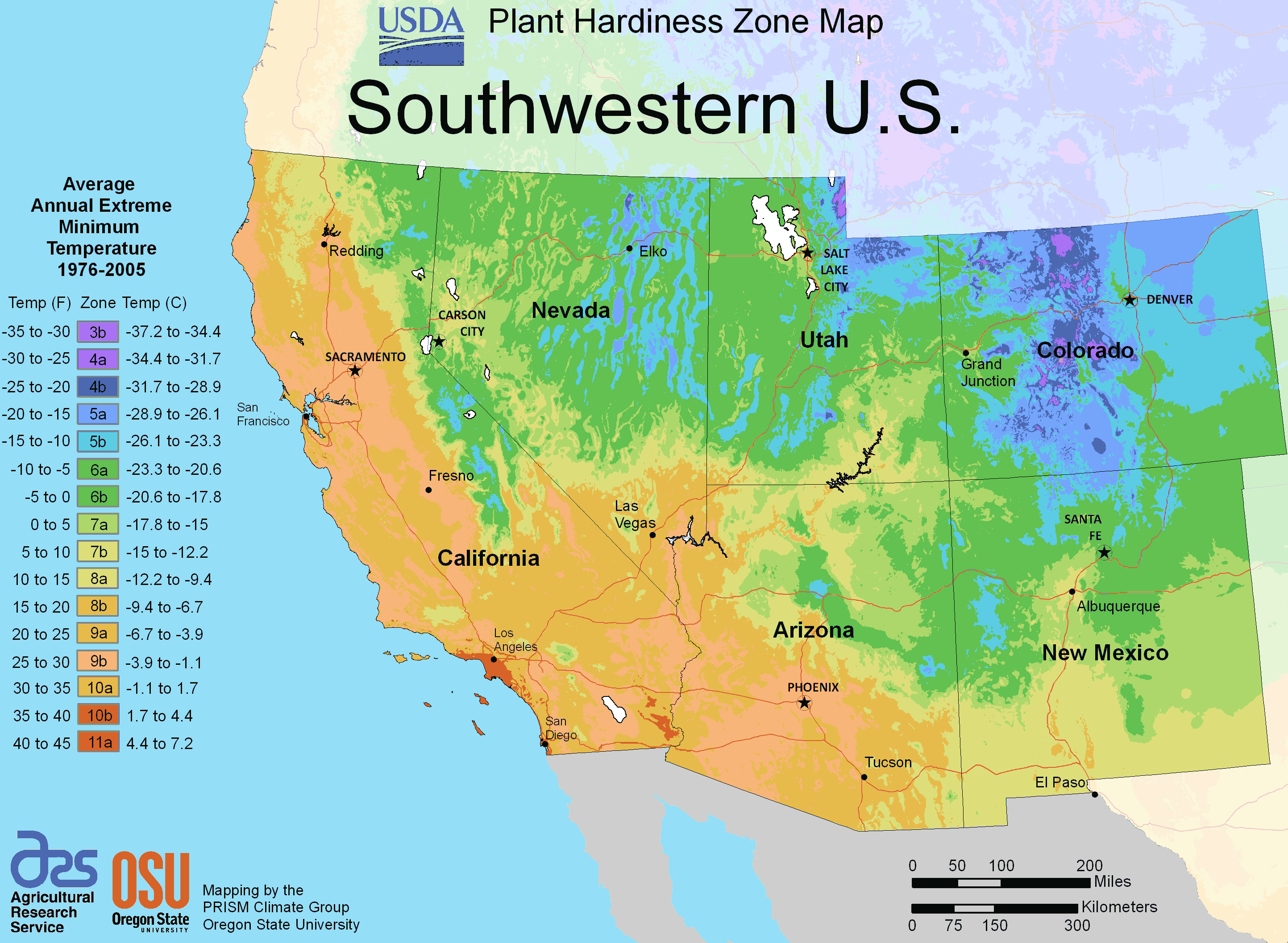 South West Us Plant Hardiness Zone Map